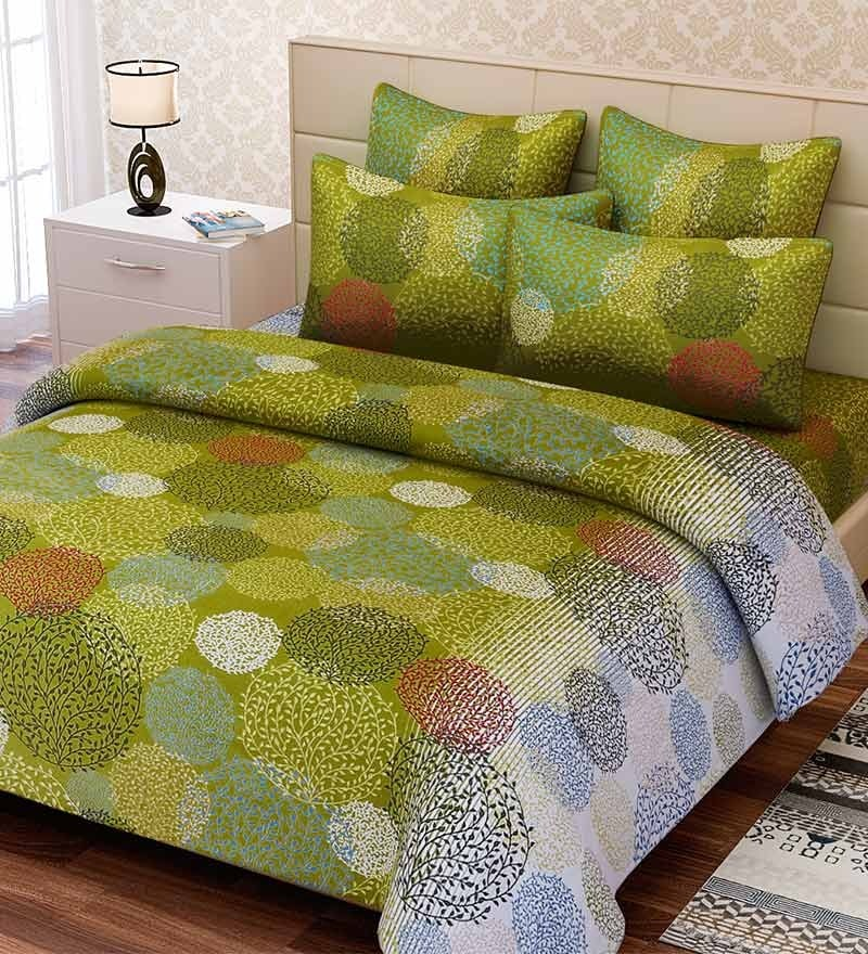 Green Cotton Queen Size Bed Sheet - Set of 3 by SEJ By Nisha Gupta