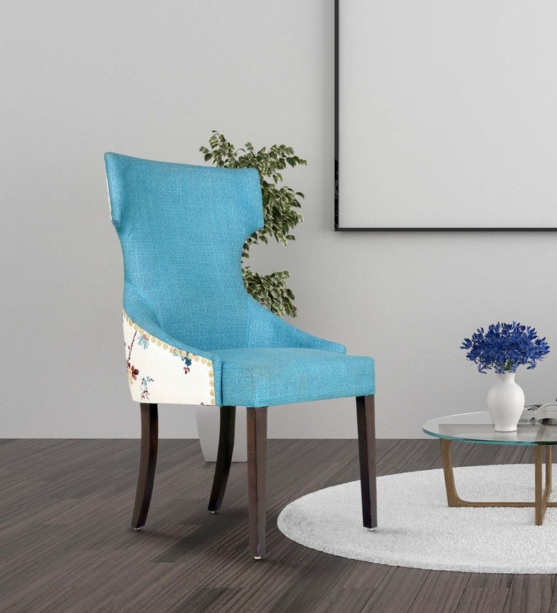 Serra Accent Chair in Printed Blue Colour by CasaCraft