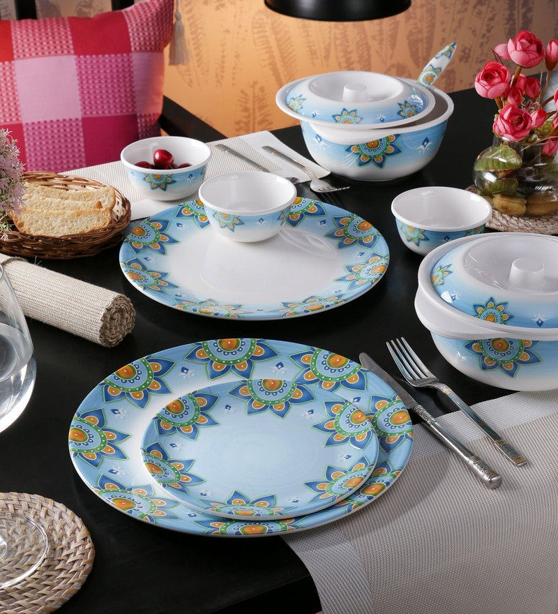 Adorn Blue Melamine Dinner Set - Set of 22 by Servewell