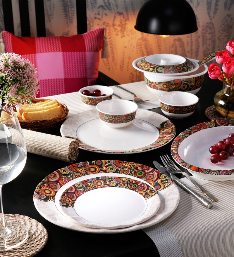 Dora Tribal Paisley Melamine Dinner Set - Set of 29 by Servewell