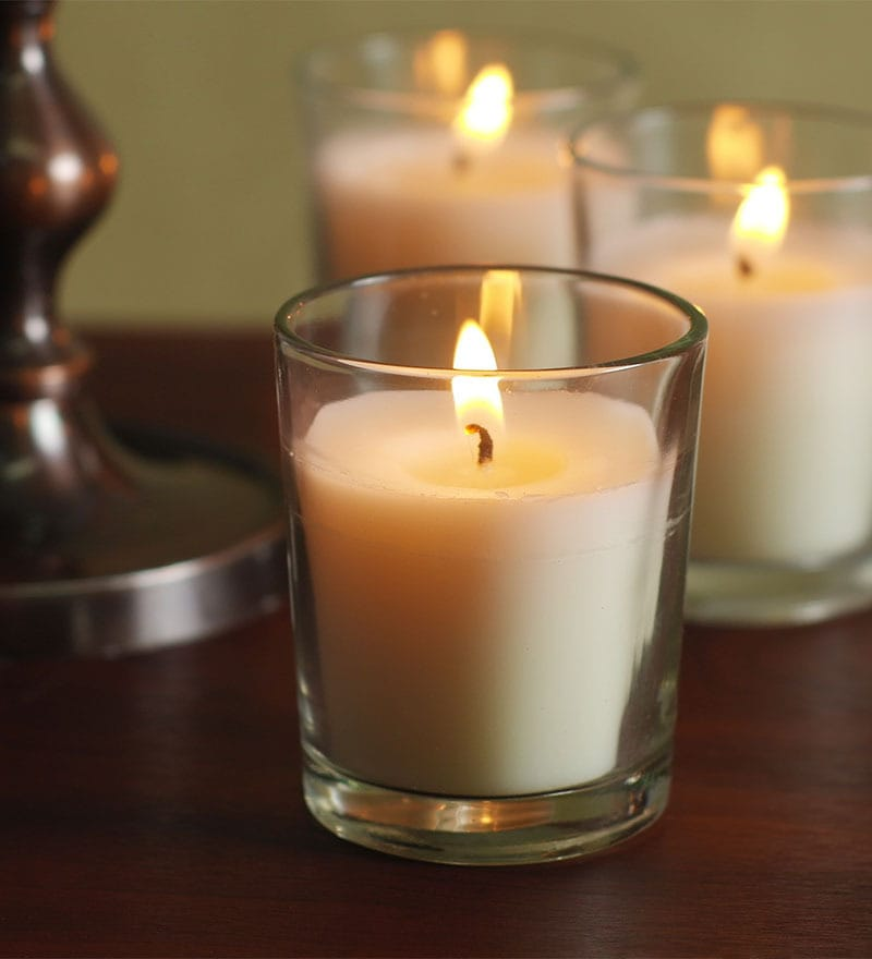 Buy white wax decorative candle set of 12 by hosley for Candele on line