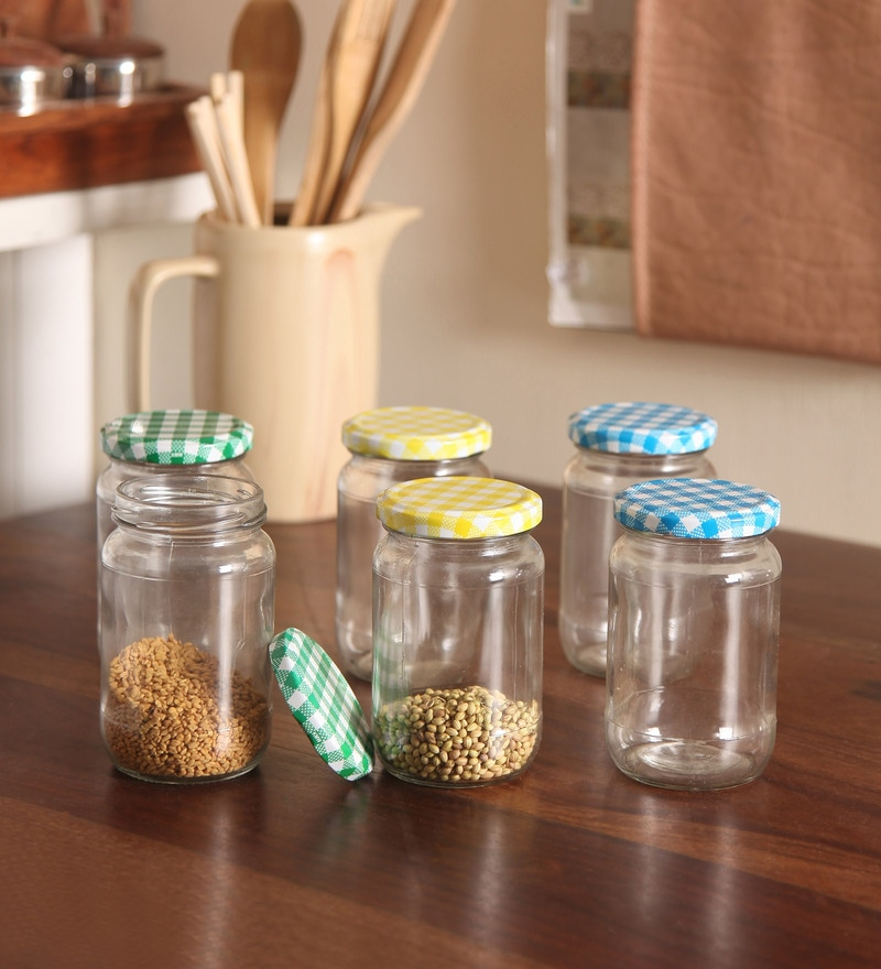 Gupta Glass Gallery Multicolour 300 ML Round Glass Jar  - Set of 6