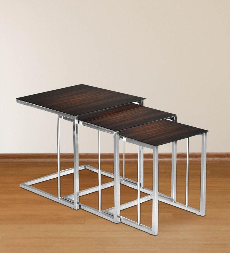Set of Table in Walnut Finish by Nilkamal