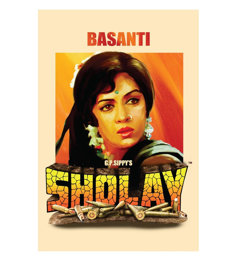 Paper 12 x 18 Inch Sholay Basanti Unframed Bollywood Poster by Seven Rays