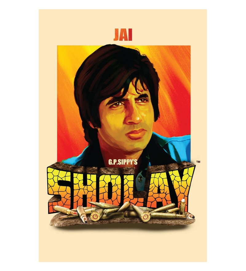 Paper 12 x 18 Inch Sholay Jai Unframed Bollywood Poster by Seven Rays