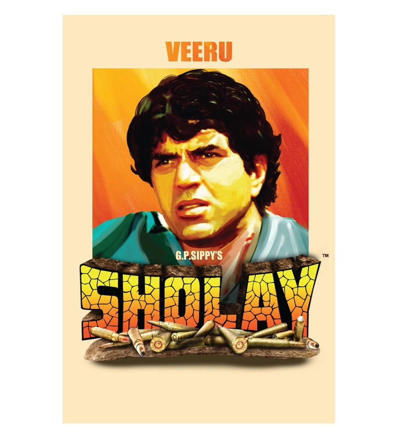 Paper 12 x 18 Inch Sholay Veeru Unframed Bollywood Poster by Seven Rays