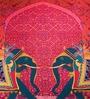 Pink Cotton 16 x 16 Inch HD Digital Premium Elephants Cushion Covers - Set of 2 by SEJ By Nisha Gupta