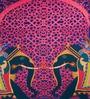 Sej by Nisha Gupta Purple Cotton 16 x 16 Inch HD Digital Premium Elephants Cushion Covers - Set of 2