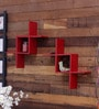 Red Engineered Wood Zig Zag Wall Shelf - Set of 2 by Home Sparkle
