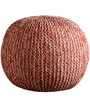 Senorita Knitted Cotton Pouffe in White & Orange Colour by Purplewood