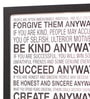 Seven Rays Glass, Fibre & Paper 8 x 1 x 12 Inch Mother Teresa Anyway Quote Framed Poster