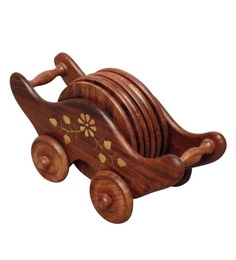 Shilpi Wooden Brown Coaster With Holder - Set Of 6 - 1691209