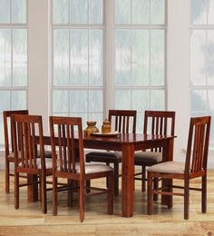 Shiron Six Seater Dining Set In Honey Finish