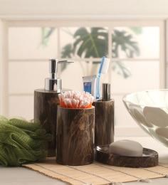 Shresmo Brown Polyresin Recto Bathroom   Set Of 4