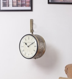 gold metal 8 inch round double side handicraft wall clock