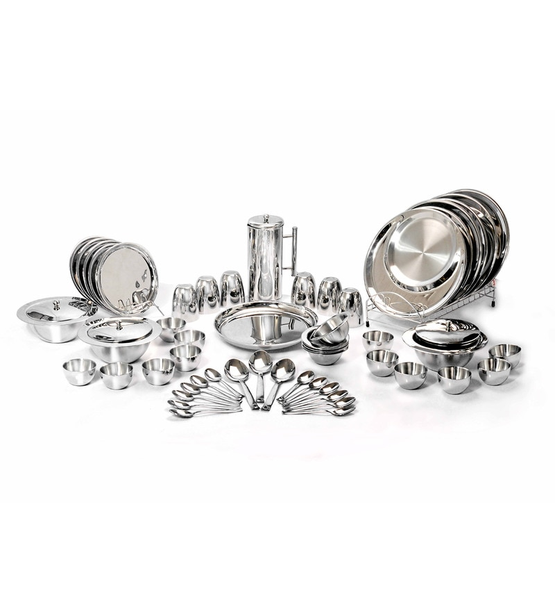 Silver Stainless Steel Dinner Set - Set of 57 by Shapes