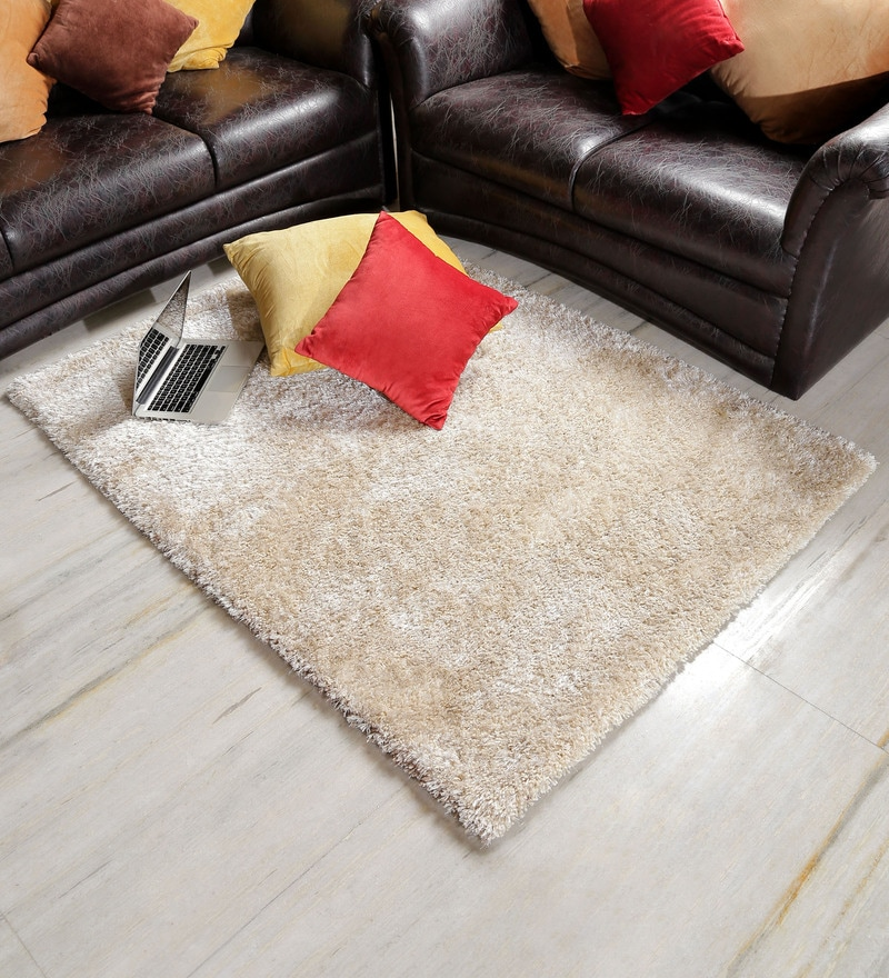 Ivory Polyester Area Rug by Shobha Woollens