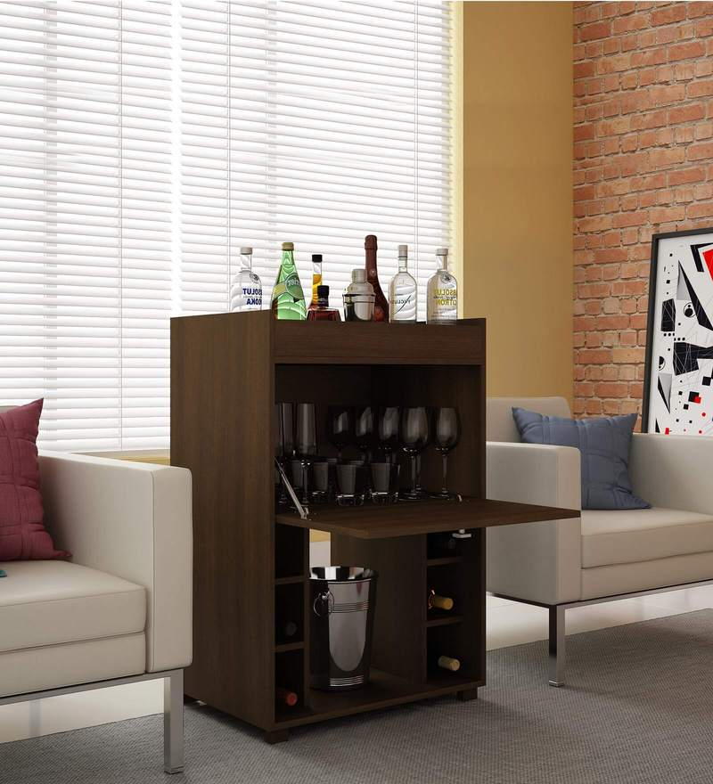 Shochu Bar Cabinet with Bottle Holder in Brown Finish by Mintwud