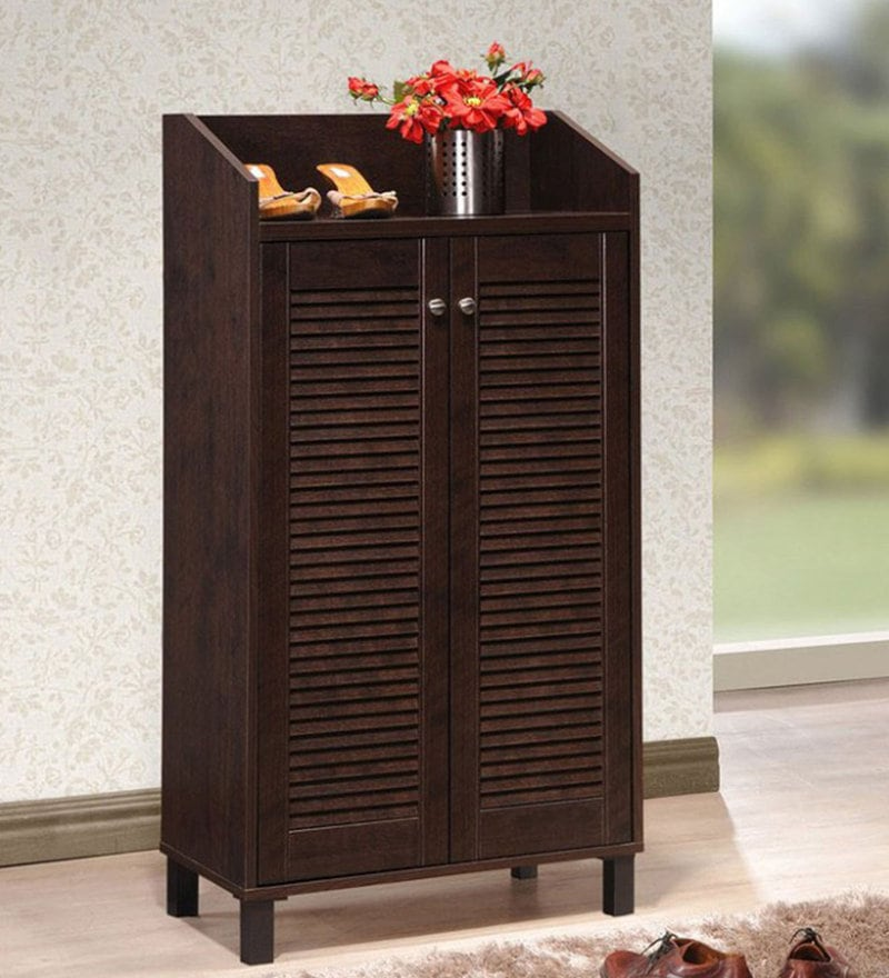 Tall Two Door Shoe Cabinet in Wenge Finish by DHEP Furniture