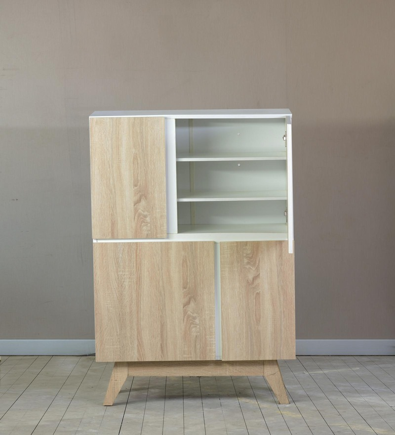 Shoe Cabinet in White & New Oak Finish by DHEP Furniture