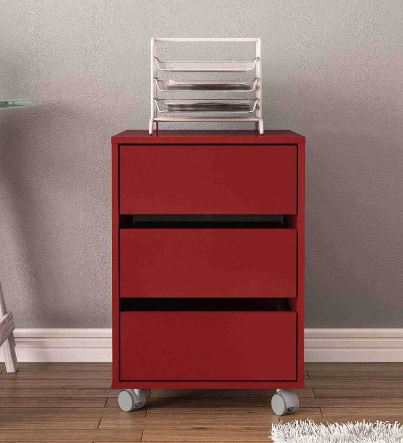 Shouta Storage Unit with Three Drawers & Swivel Castors in Burgandy Colour by Mintwud