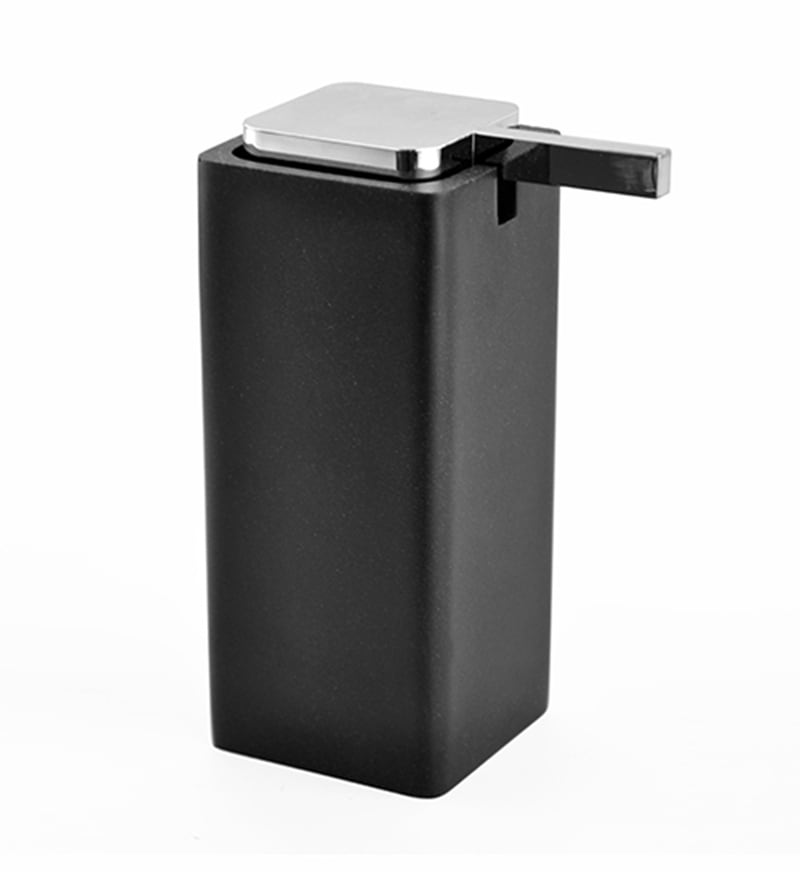 Shresmo Black Polyresin 2.79 x 2.83 x 6.22 Inch Handy Soap Dispenser