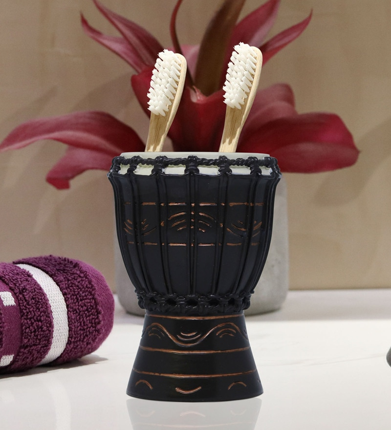 Shresmo Brown Polyresin Toothbrush Holder