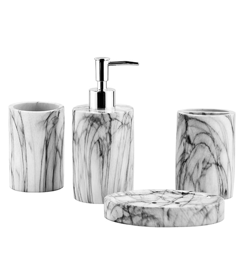 Shresmo Grey Polyresin Recto Bathroom Accessories Set - Set of 4