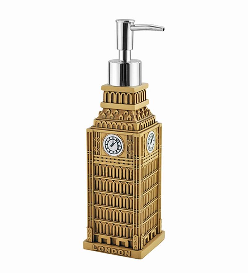 Shresmo Khaki Polyresin 2.48 x 2.48 x 8.93 Inch Wonder Soap Dispenser