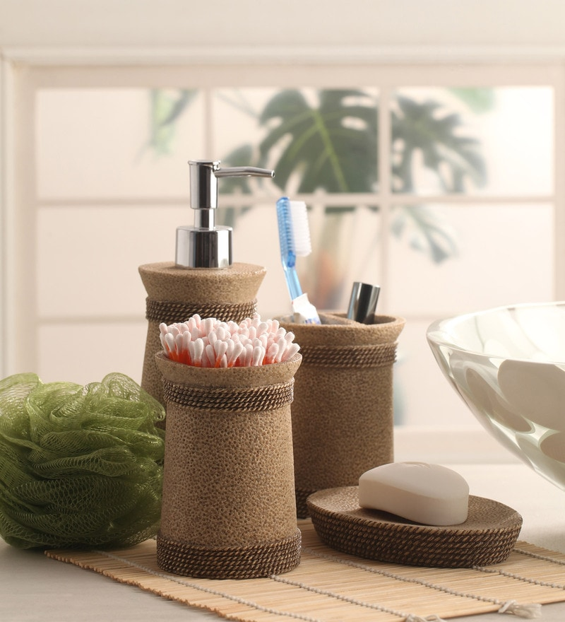 Shresmo Khaki Polyresin Cube 4-piece Bathroom Accessory Set