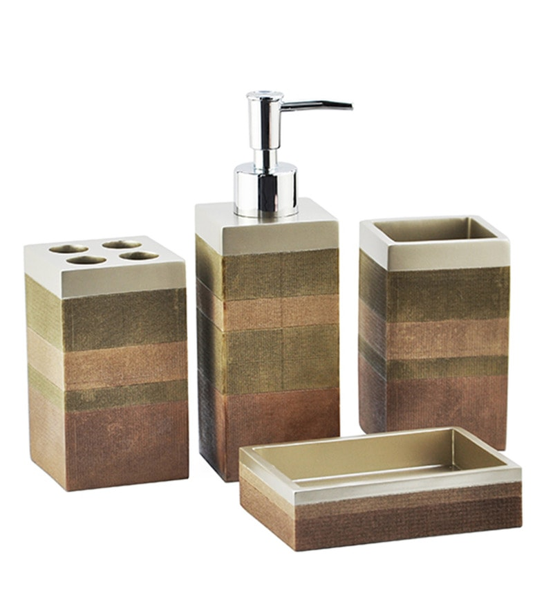Shresmo Multicolour Polyresin Recto Bathroom Accessories Set - Set of 4