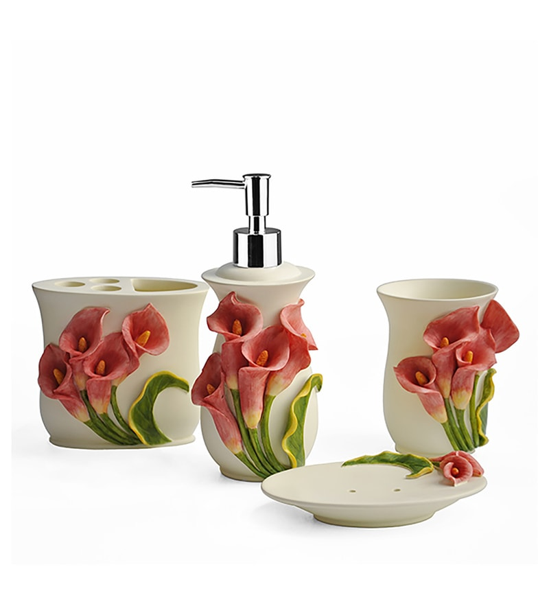 Shresmo White Polyresin Flora 4-Piece Bathroom Accessory Set