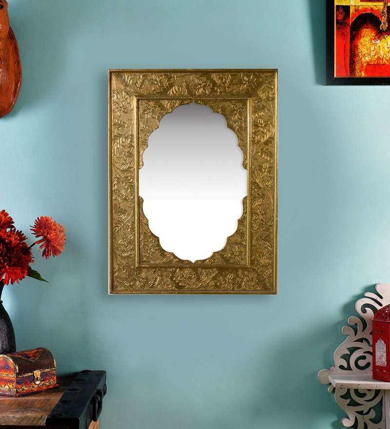Shrinath Gold MDF Antique Decorative Mirror