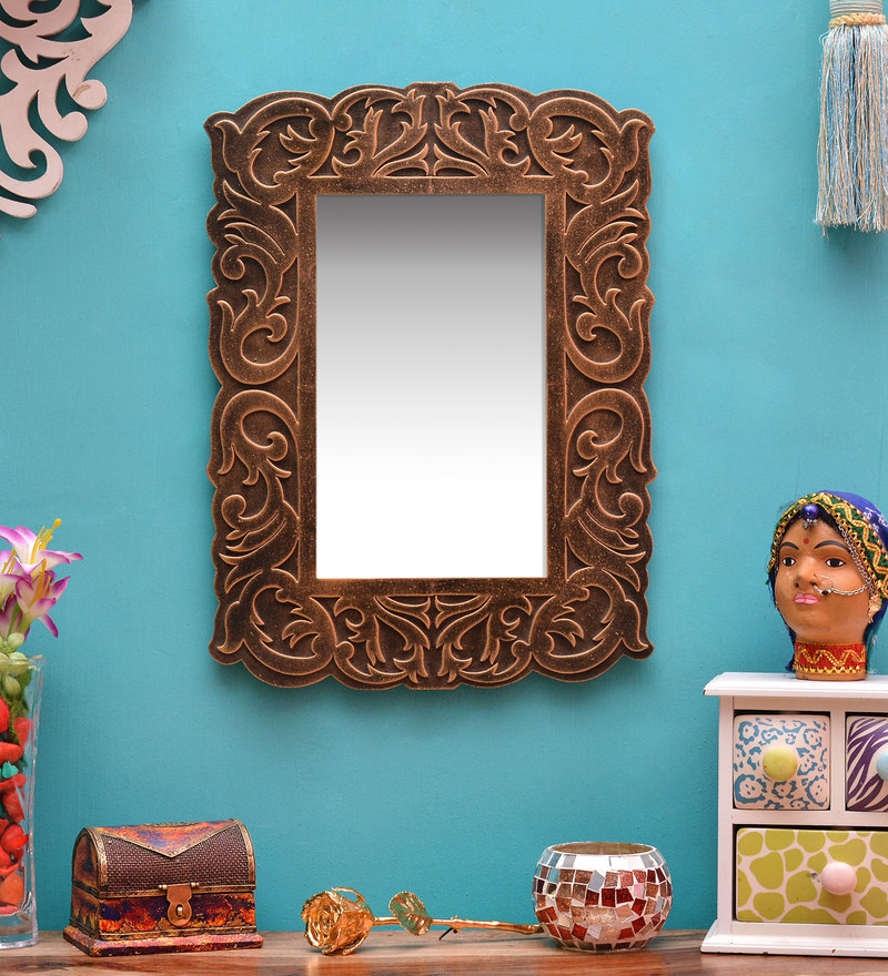 Gold MDF Carving Mirror by ShriNath