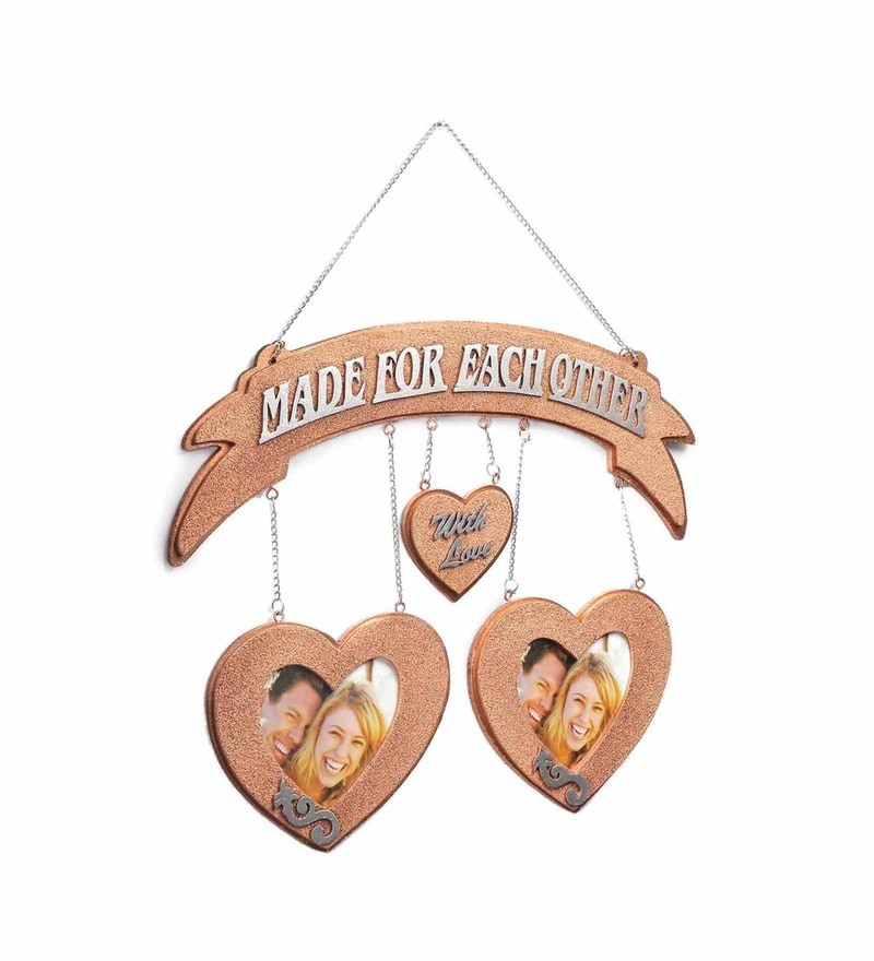 Copper MDF 18 x 18 Inch Made for Each Other Wall Hanging Photo Frame by ShriNath