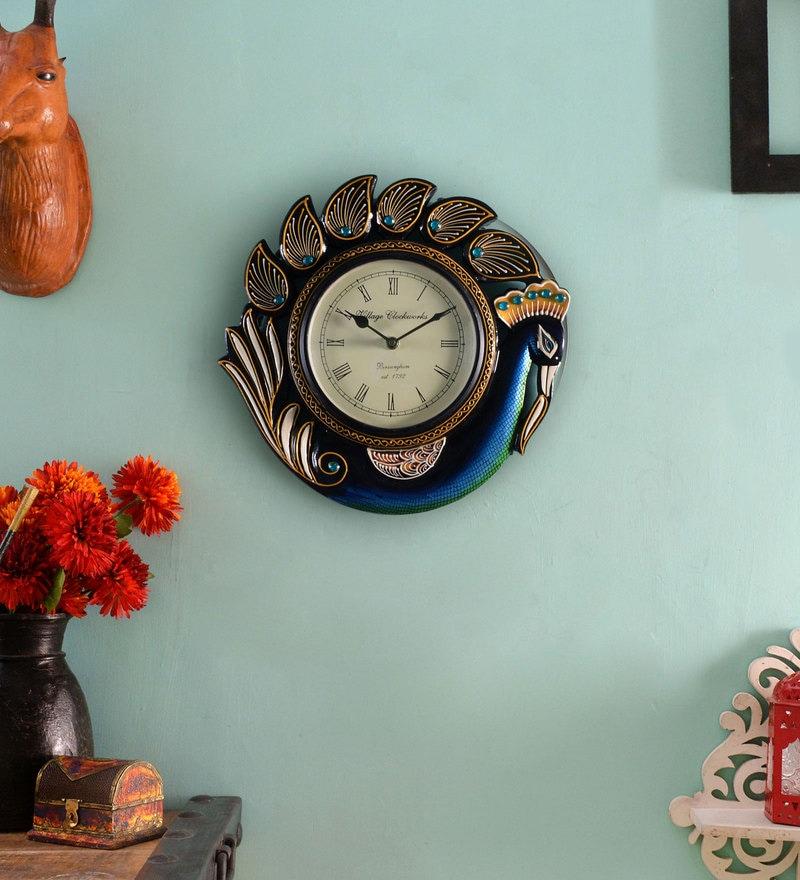 Multicolour MDF 12 x 1.5 x 12 Inch Peacock Analog Wall Clock by ShriNath