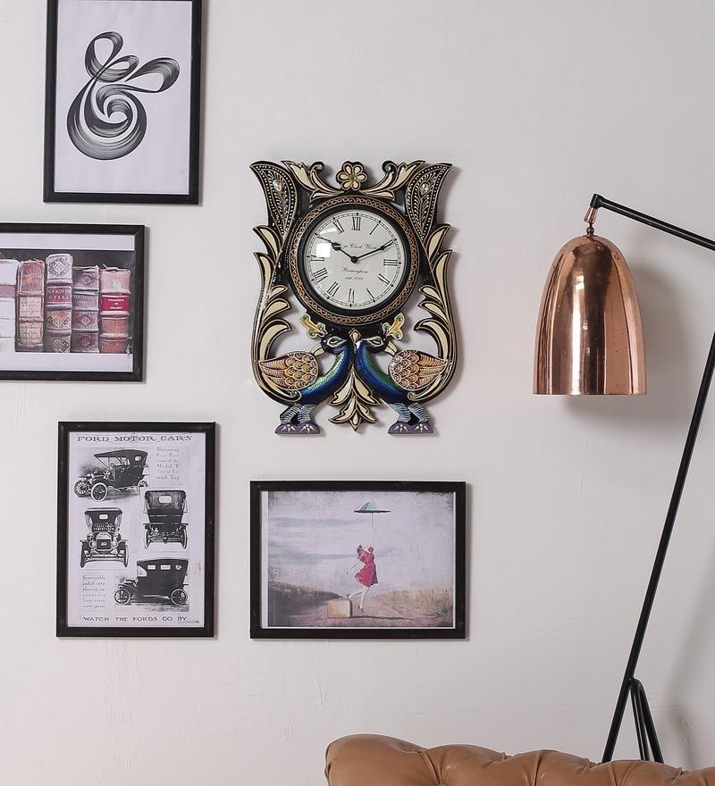 Multicolour MDF 12 x 1.5 x 16 Inch Classic Mayur Painted Handicraft Wall Clock by ShriNath