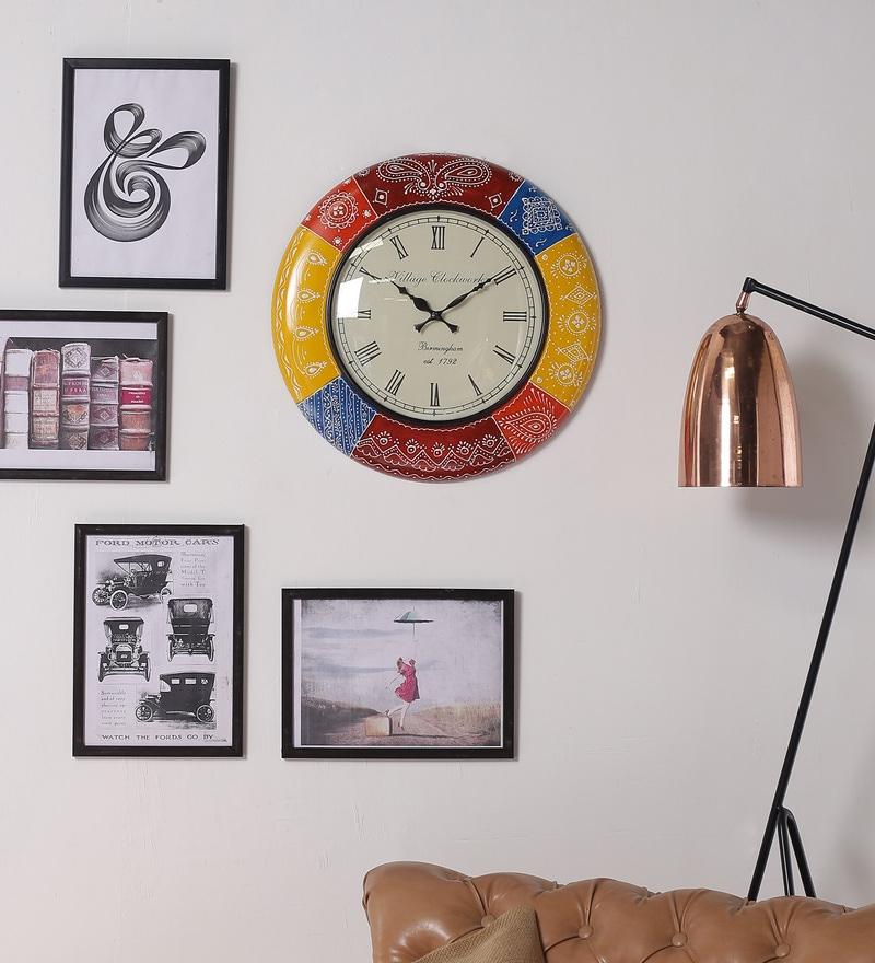 Multicolour MDF 18 Inch Round Royal Handmade Living Room Wall Clock by ShriNath
