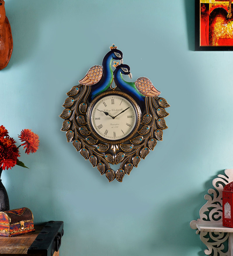 Multicolour MDF 18 x 1.5 x 22 Inch Peacock Analog Wall Clock by ShriNath