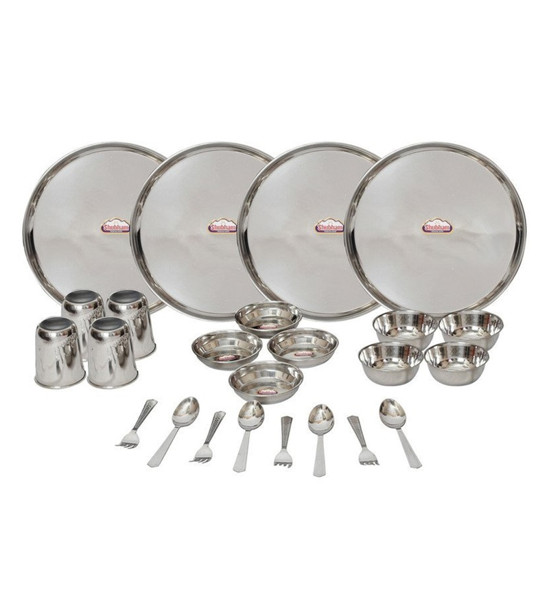 Stainless Steel Dinner Sets - Set of 24 by Shubham