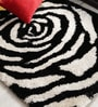 Black & White Polyester Area Rug by Shobha Woollens