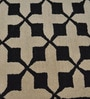 Black Wool Geometric Area Rug by Shobha Woollens