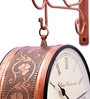 Brown Metal 10 Inch Round Retro Hanging Clock by ShriNath