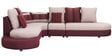 Six Seater Sectional Sofa with Pillows in Cream & Maroon Colour by Furncoms