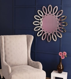 Silver Glass & MDF Sunflower Wall Mirror By Venetian Design