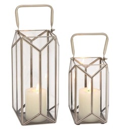 Silver Iron Decmode Frame Candle Holder