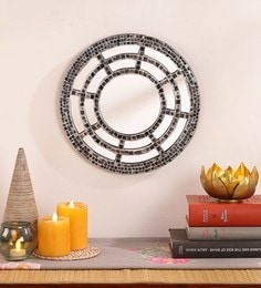 Silver MDF & Glass Decorative Mosaic Sun Ray Mirror