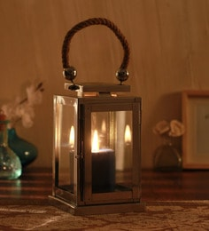 Silver Metal Steel & Glass Candle Holder