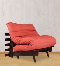 Single Futon Sofa Bed With Mattress In Red Colour