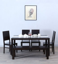 Oriel Six Seater Dining Set With Bench In Warm Chestnut Finish